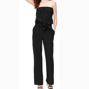LOFT black strapless pull on wide leg jumpsuit S.